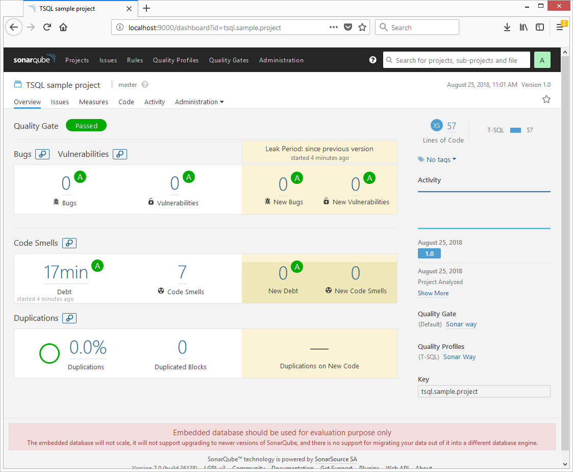 TSQL project view in SonarQube before running any tools