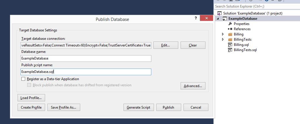 Publish database from Visual Studio