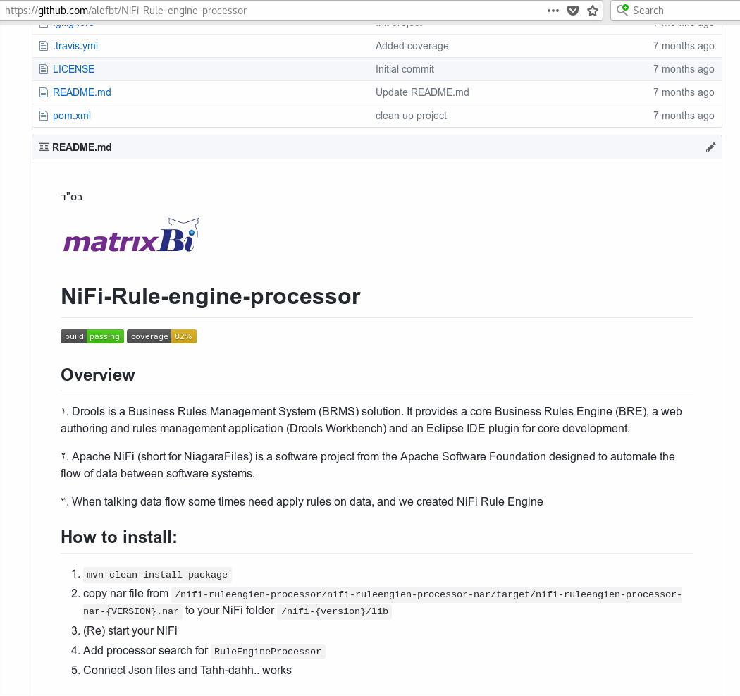 NiFi-Rule-engine-processor github