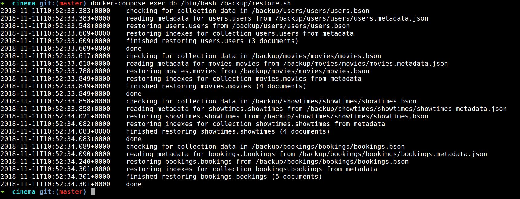 microservices - restoring database information
