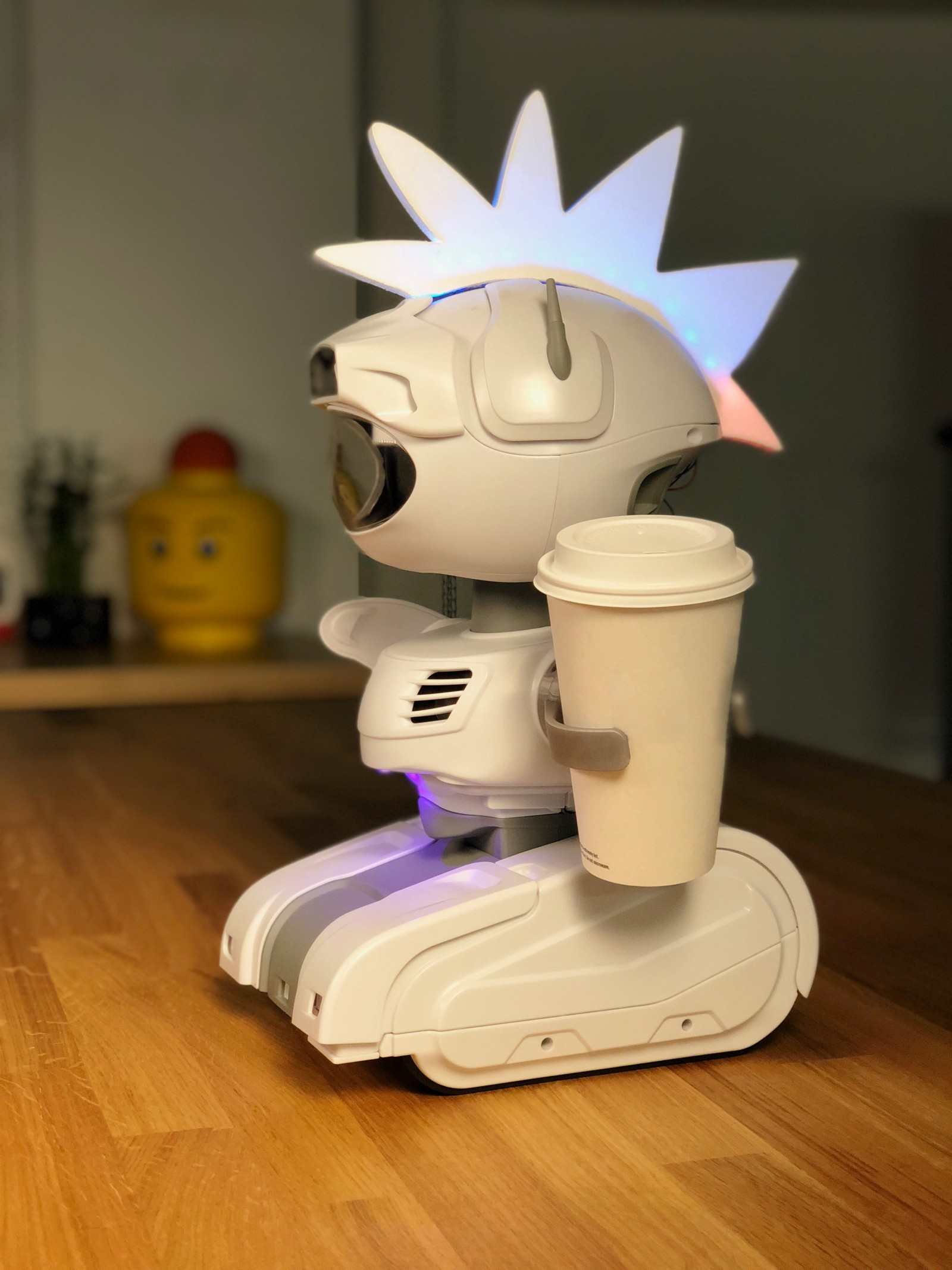Misty II, complete with custom headgear and 3D printed cup holder.