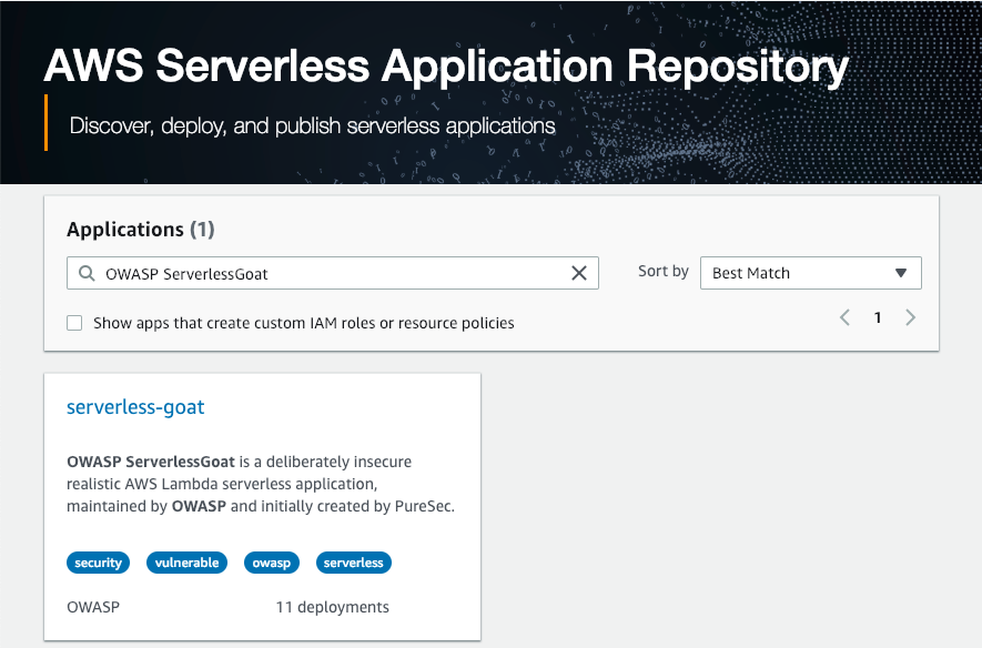 AWS Serverless Application Repository