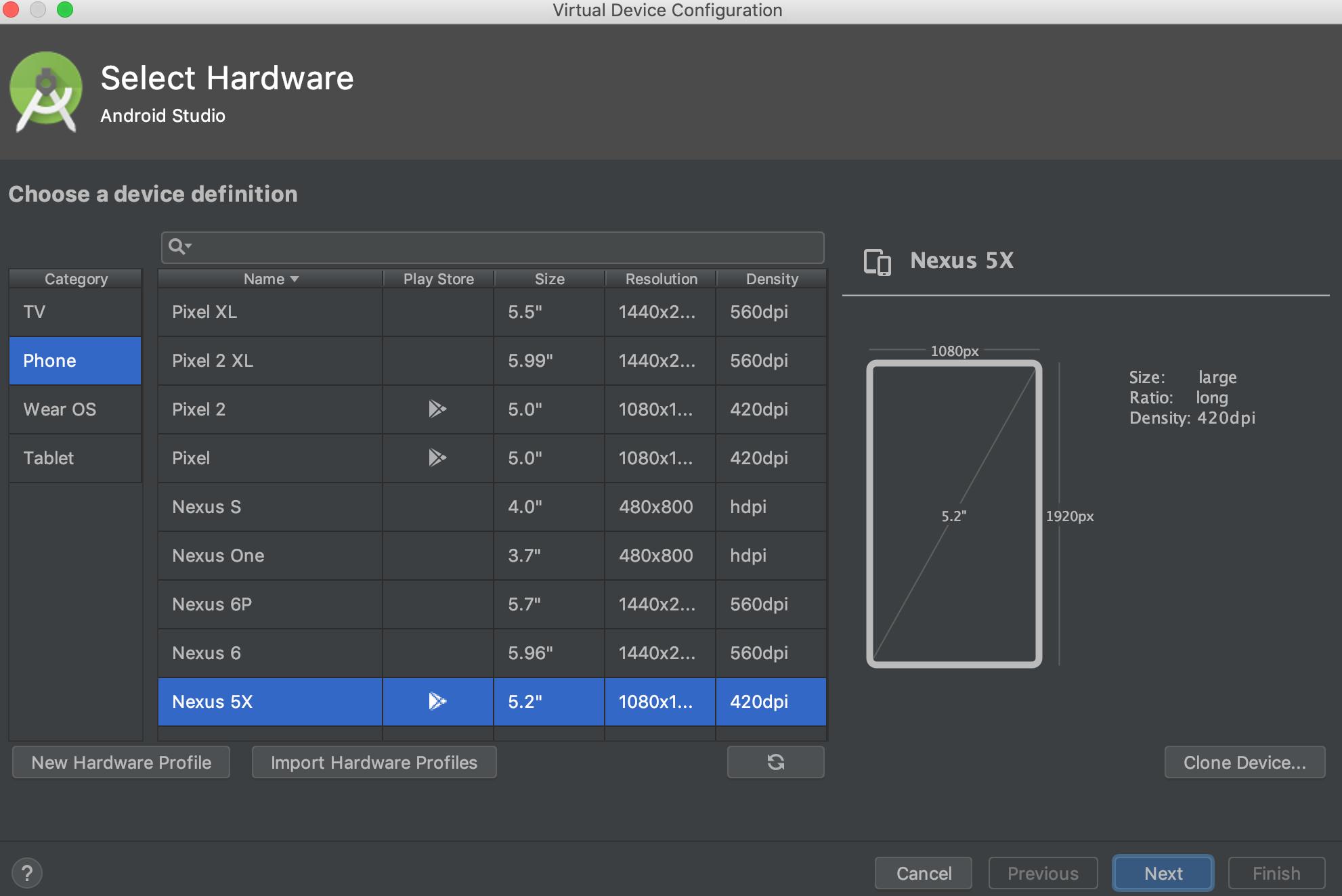 Select Hardware screen