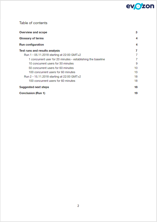 Performance Report Table of Contents