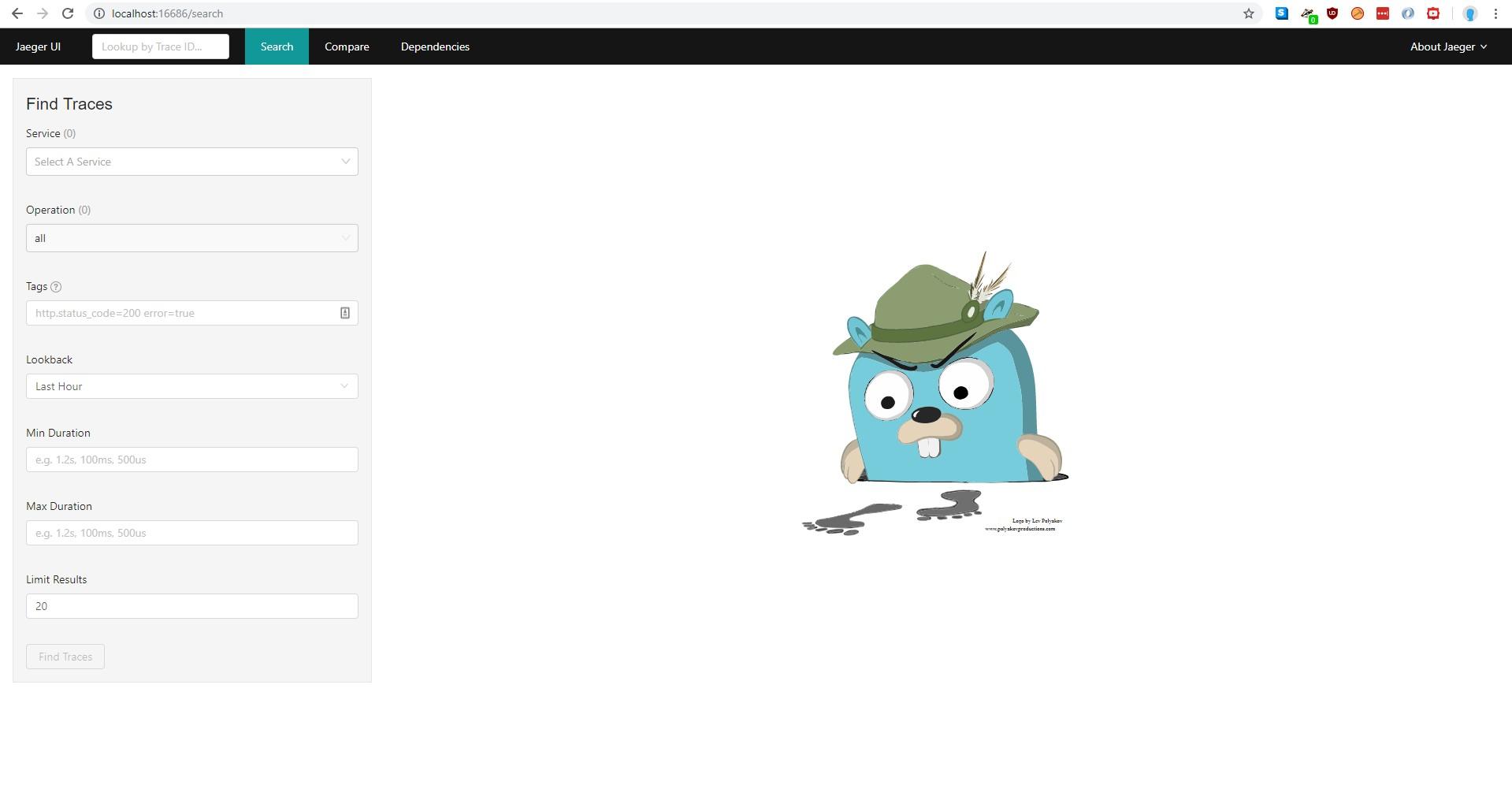 Search tab in Jaeger GUI