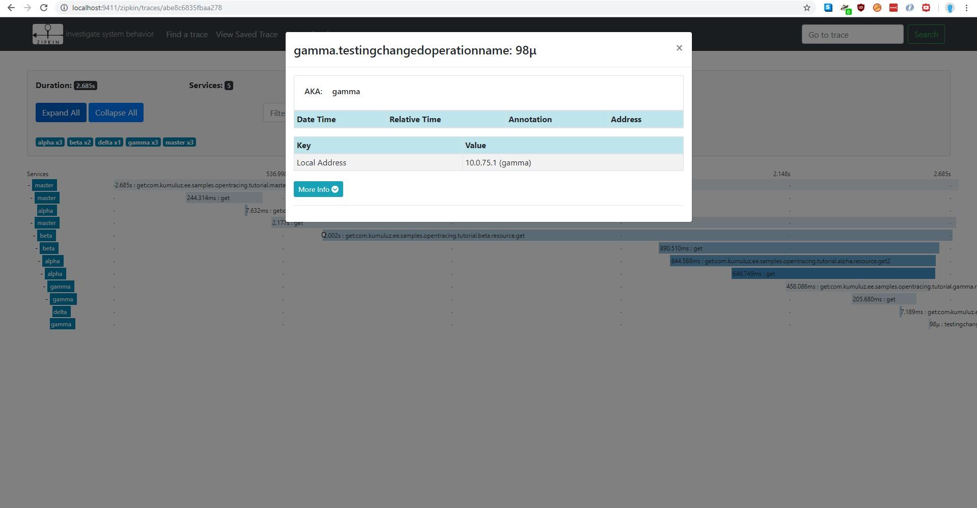 Trace with simulated database - Zipkin