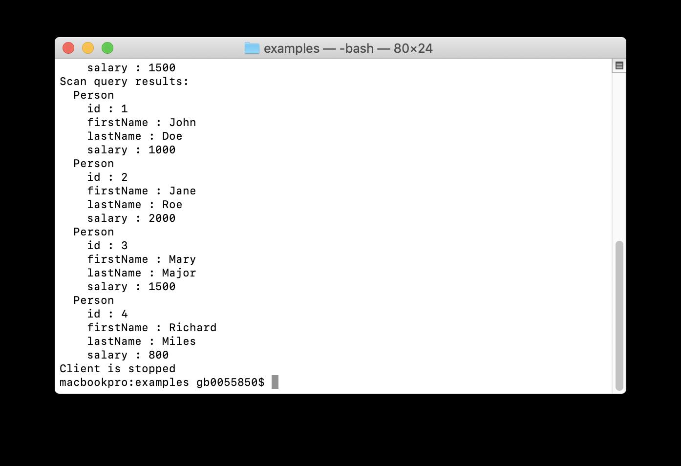 Figure 4: CachePutGetExample.js Output.