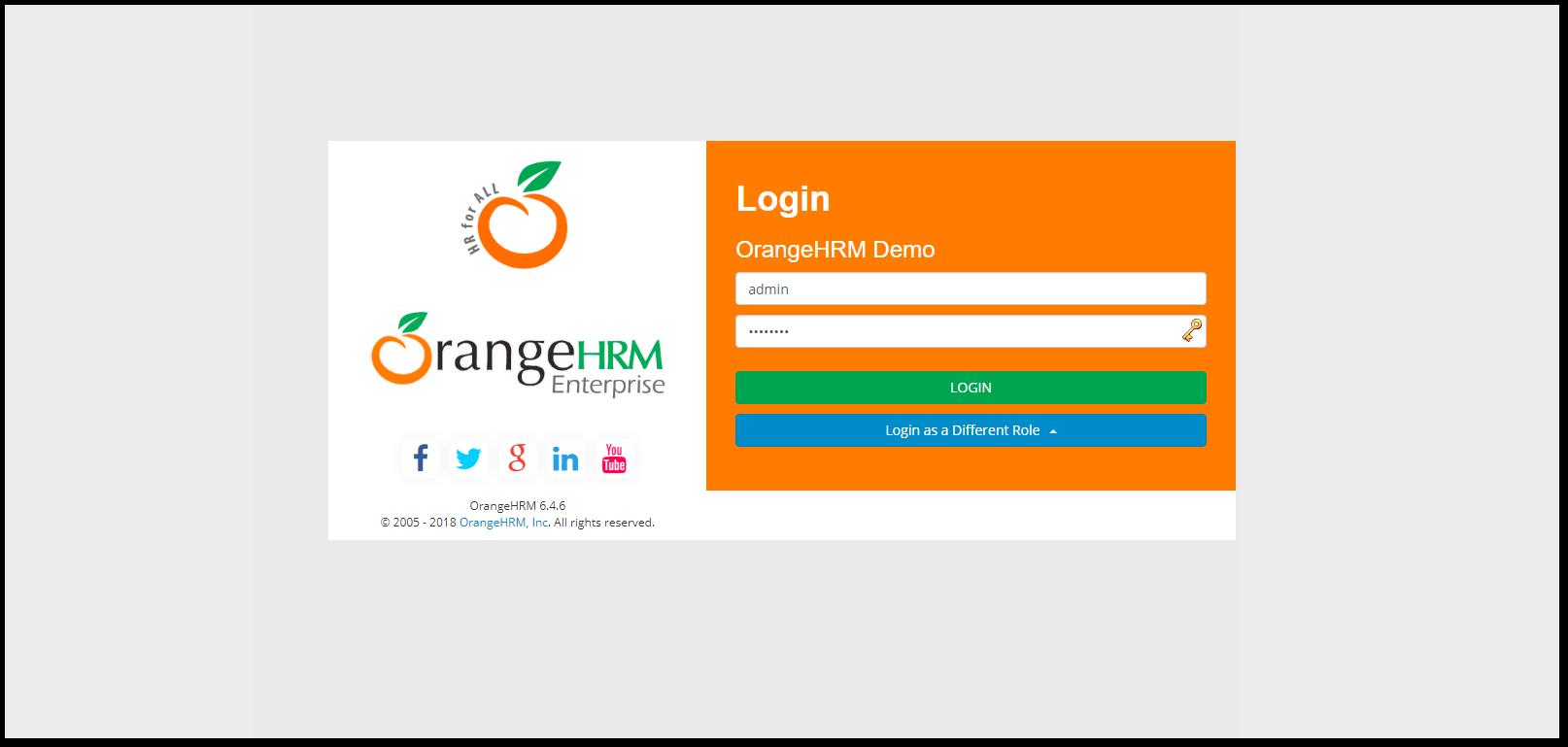 OrangeHRM Login Page