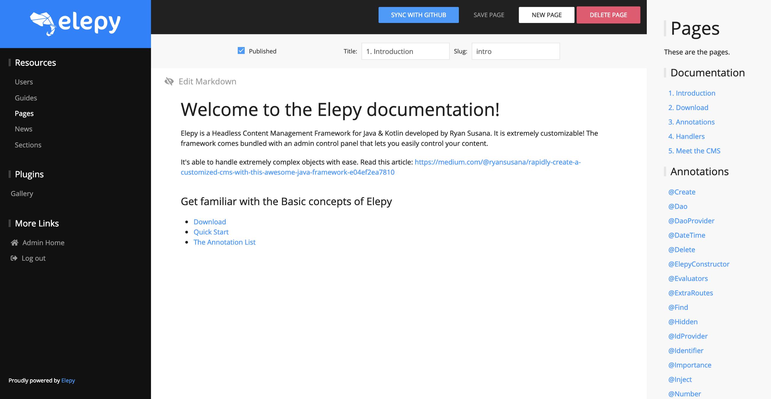A quick image of a custom Elepy UI