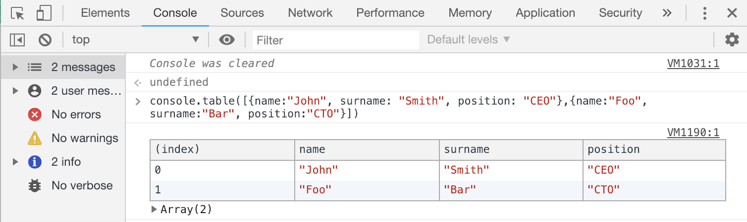 JavaScript Console Table