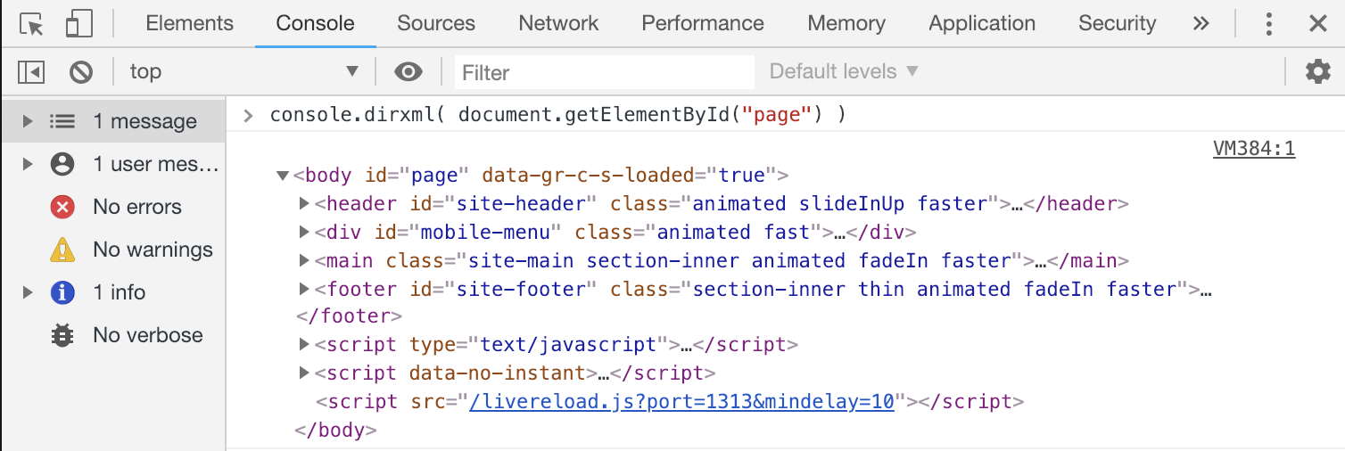 Console dirxml Javascript