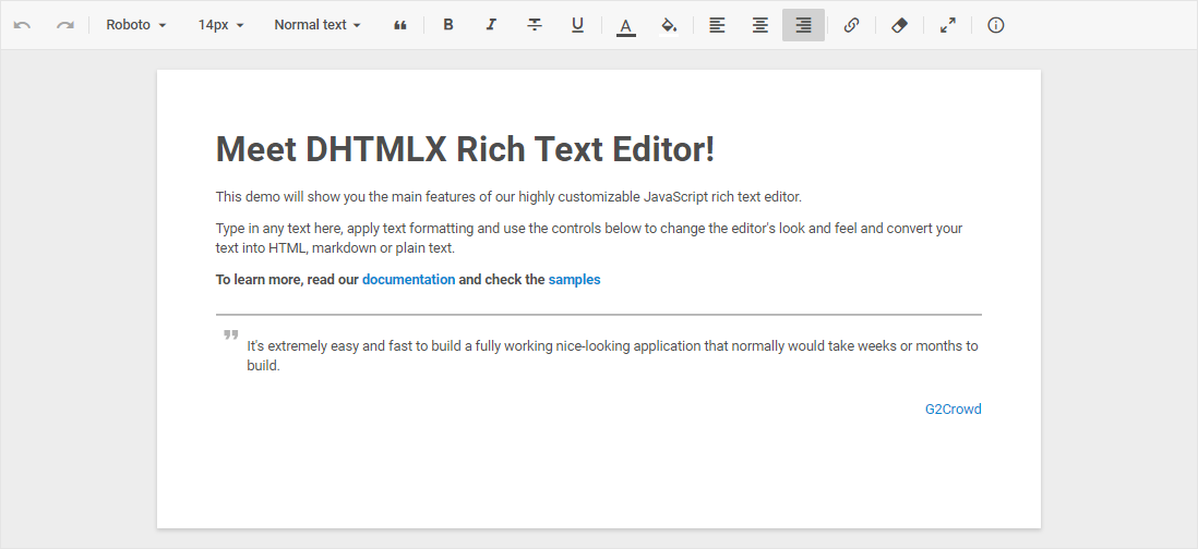 DHTMLX Rich Text Editor