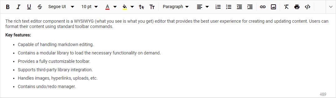 Syncfusion Text Editor