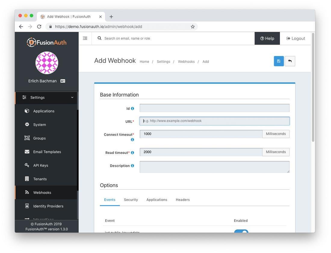 FusionAuth Webhook Dashboard