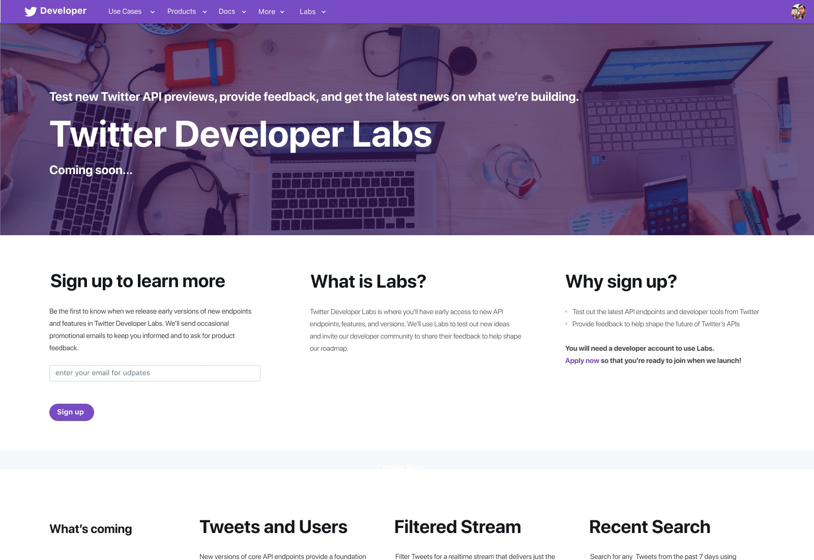 Twitter Developer Labs main page
