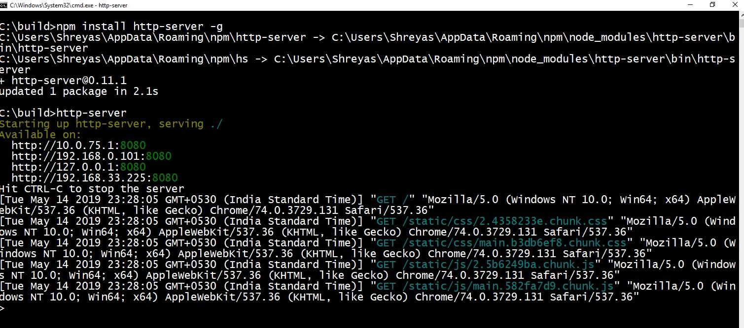 Copy generated build folder
