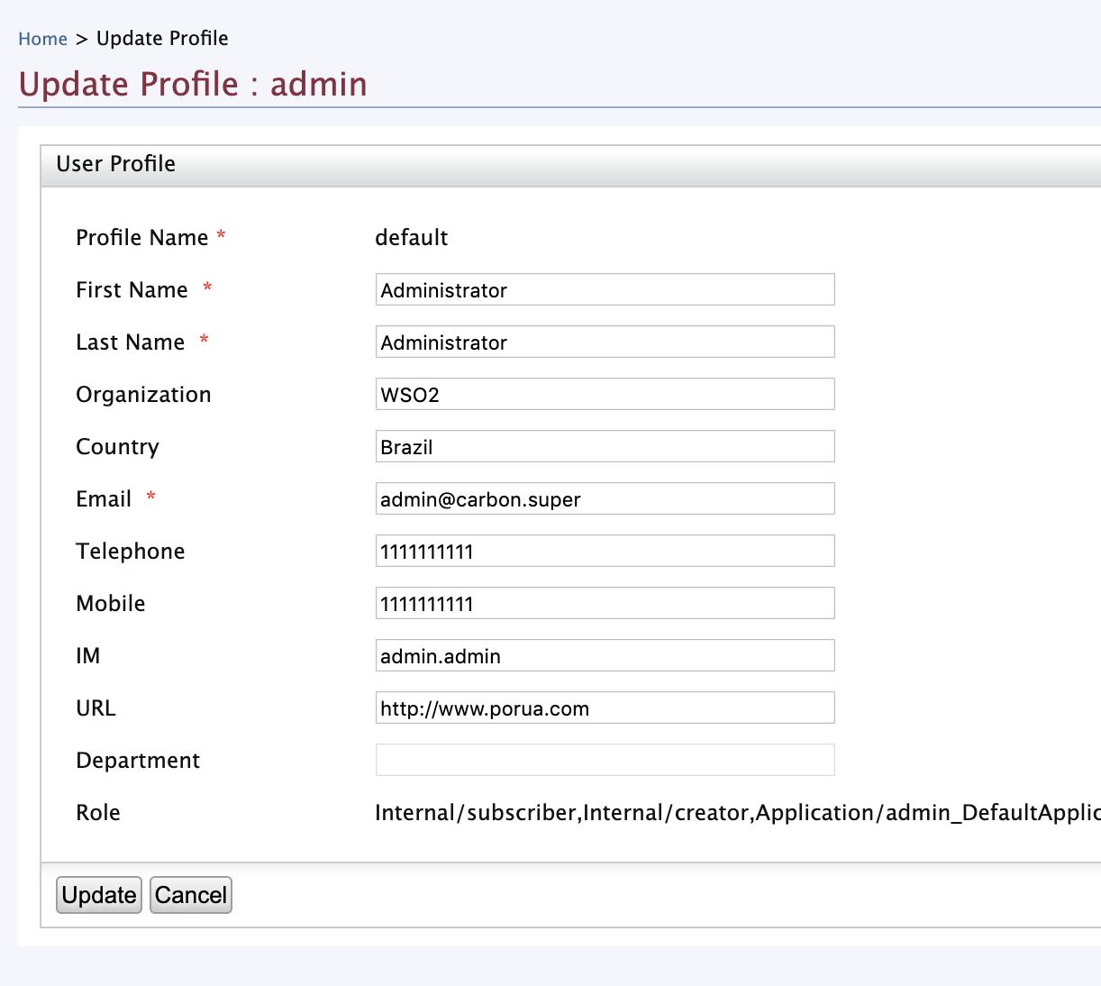 Updating Profile: admin
