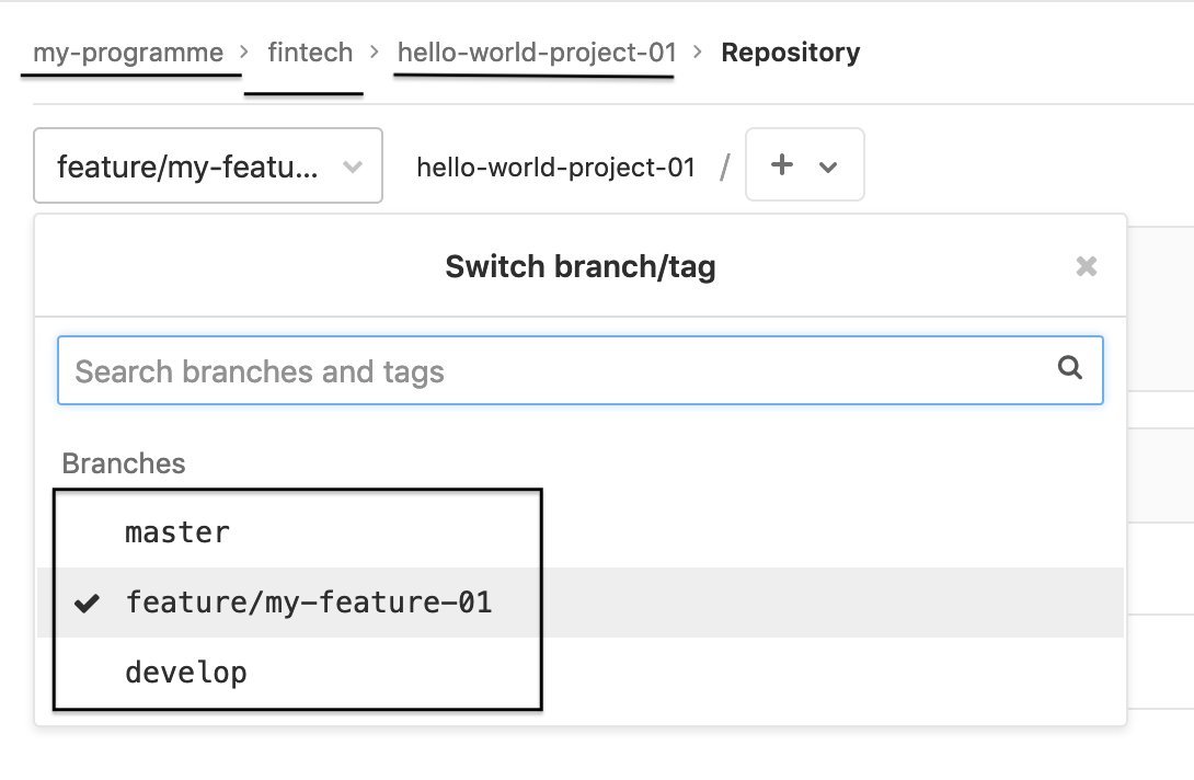 Check project in GitLab