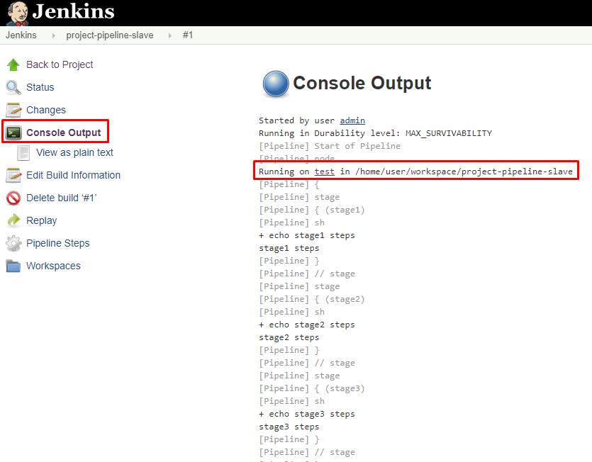 Jenkins output