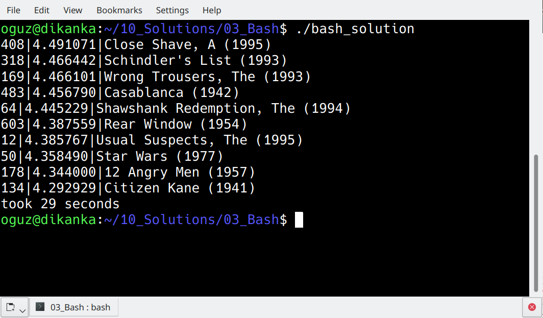 Final output in Bash