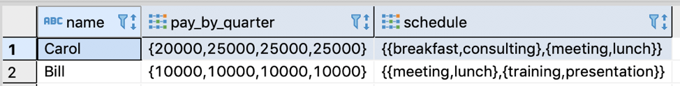 Testing inserting arrays into table