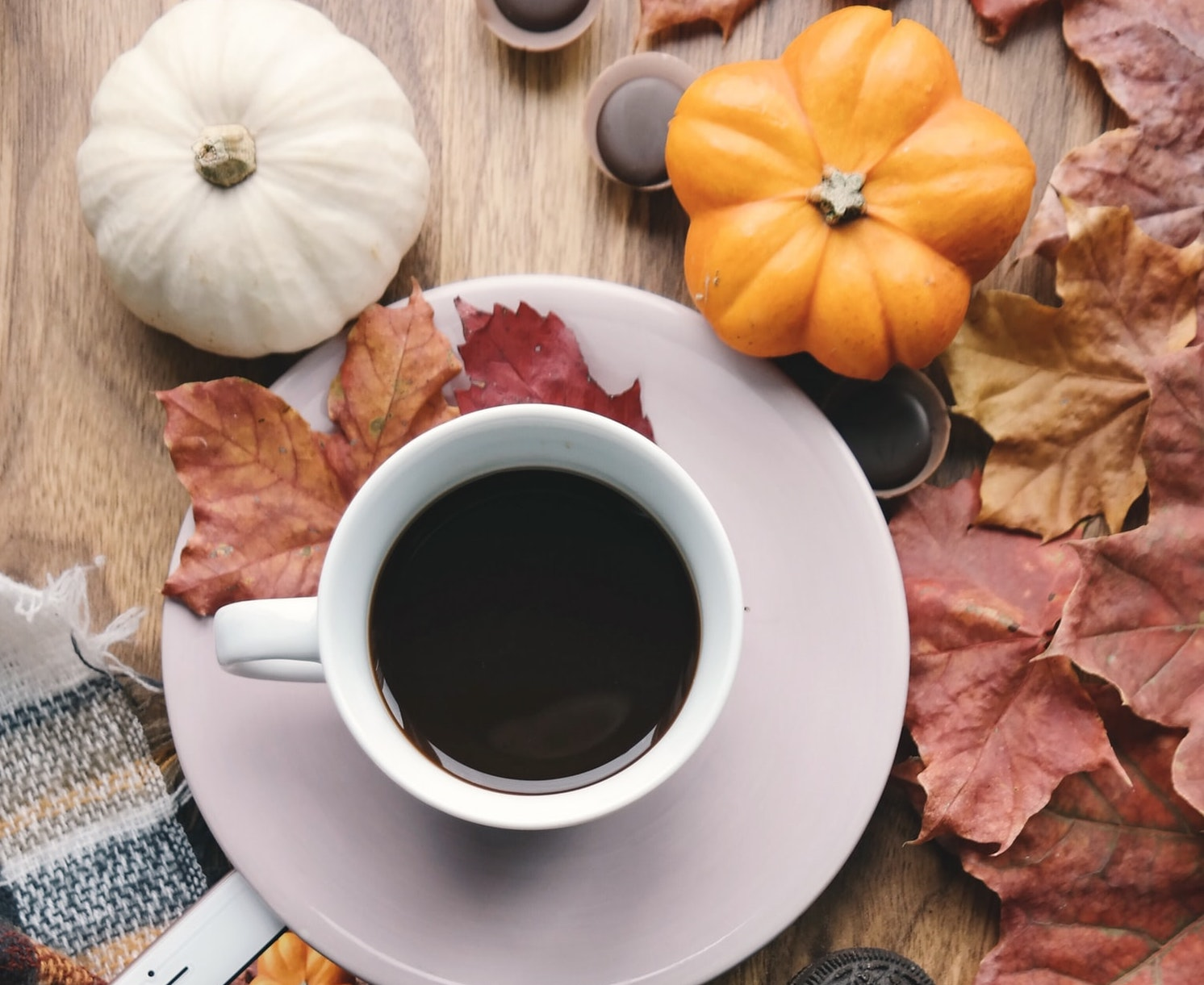 Coffee and fall leaves