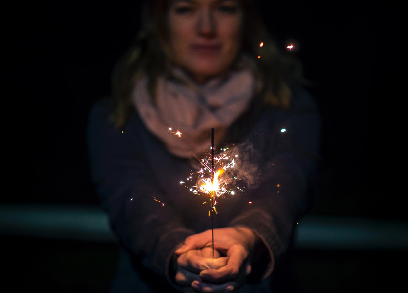 woman-holding-sparkler