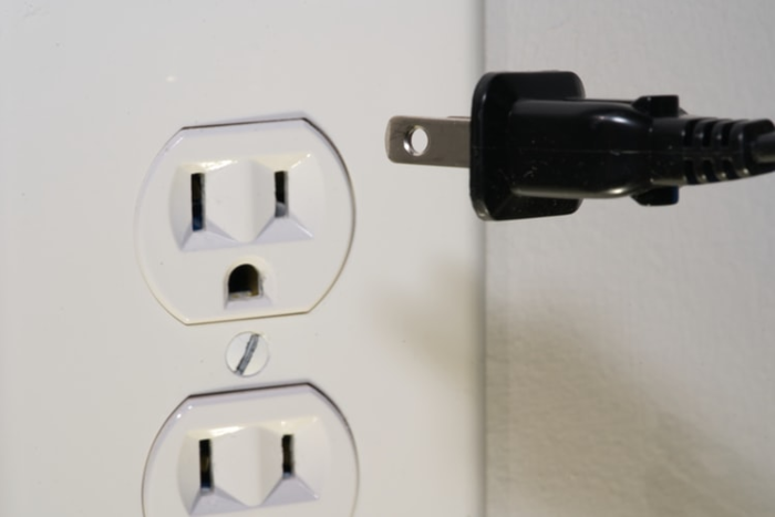 an outlet on the wall