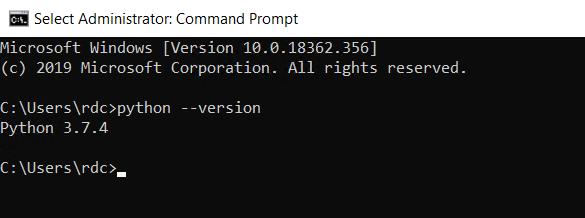 Checking version of Python
