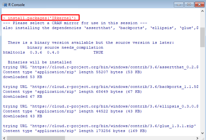 Installing IRkernel