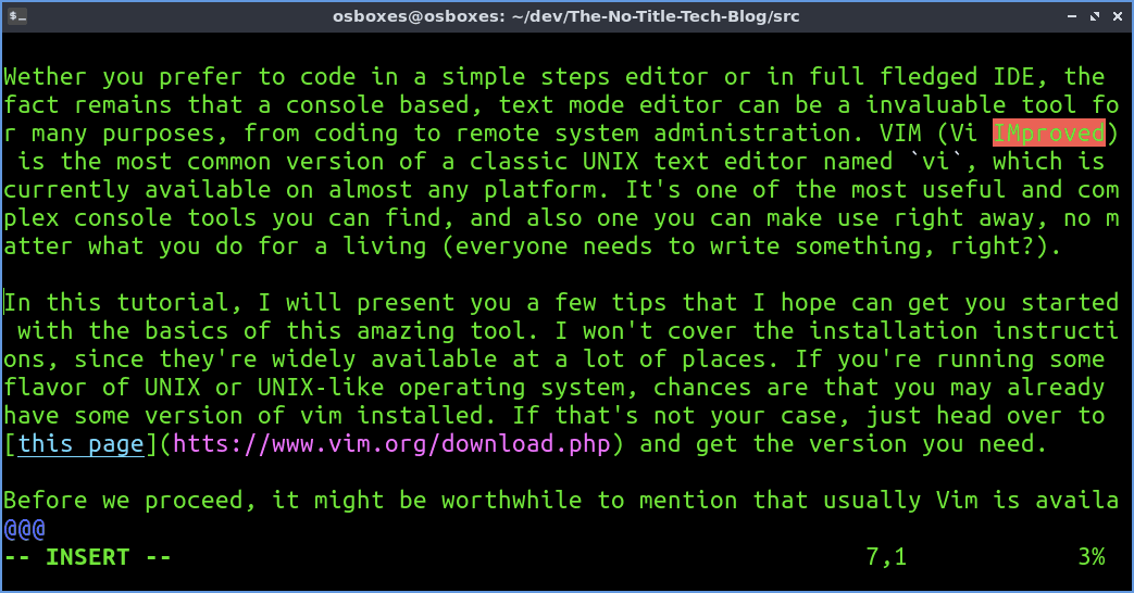 Vim text editor in Insert Mode while editing a Markdown formatted text in Lubuntu