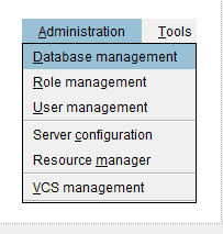 Database management view