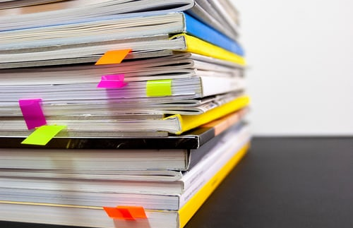 Stack of documents and books