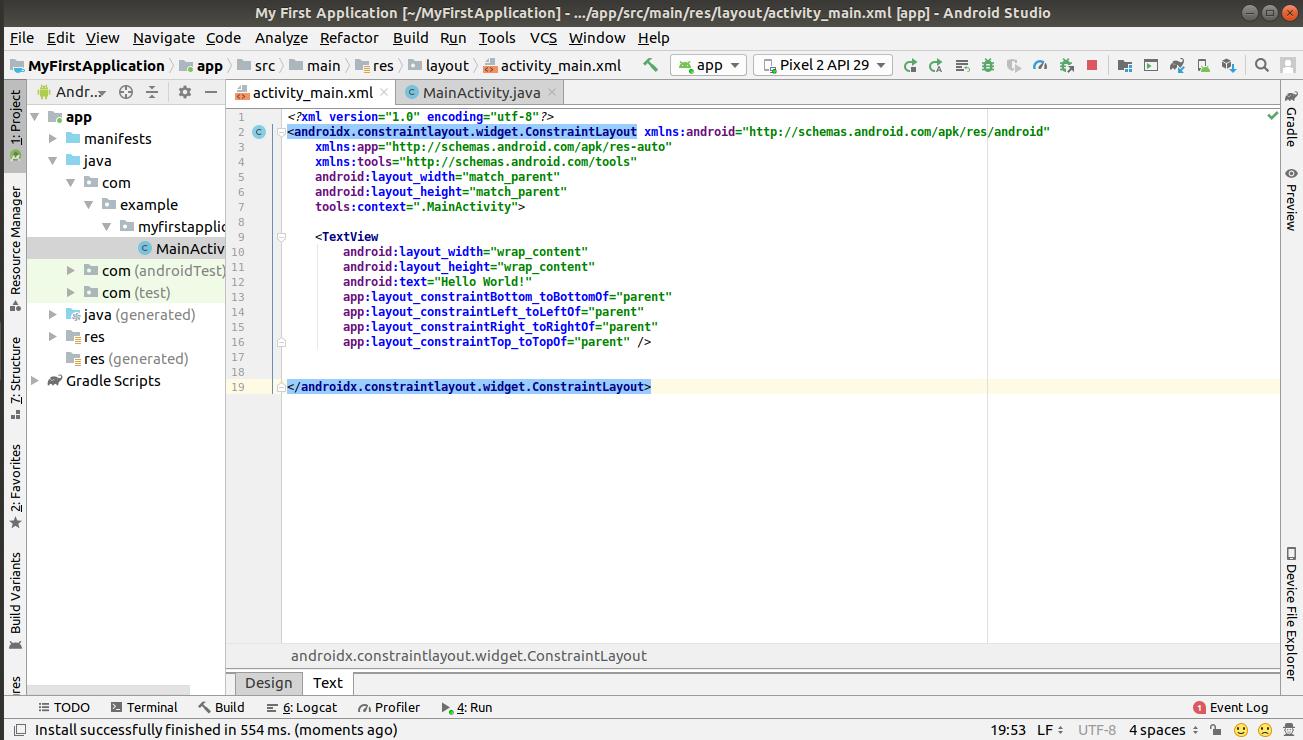 Initial layout of activity_main.xml