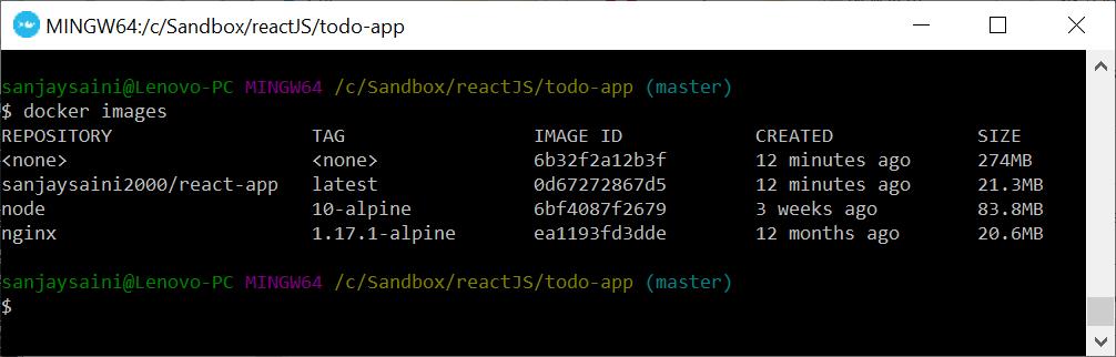 Docker images command output