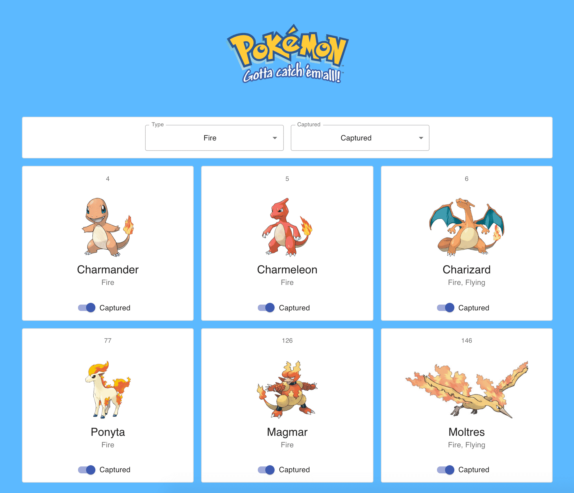 Captured Fire-type Pokémon