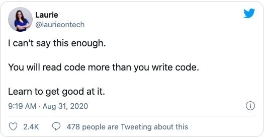 Tweet on reading code