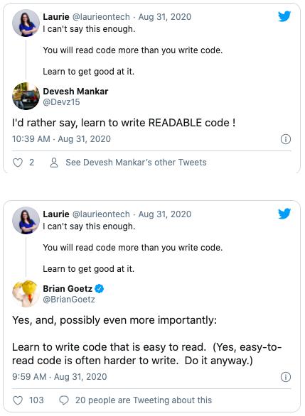 Tweets on reading code