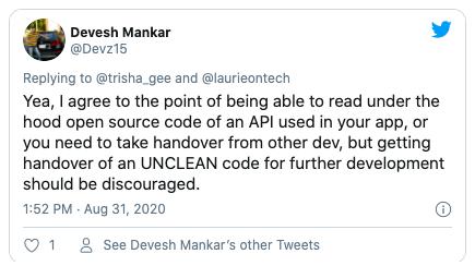 Reply to UNCLEAN code tweet