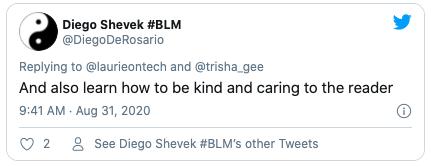 Being a kind reader tweet