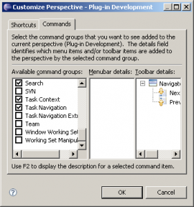disable command groups with the customize perspective dialog