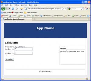 jsf page parameters screenshot
