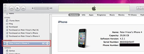 finding your iphone's udid, step 1
