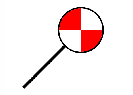 a picture of a looking glass with red and white shapes in it