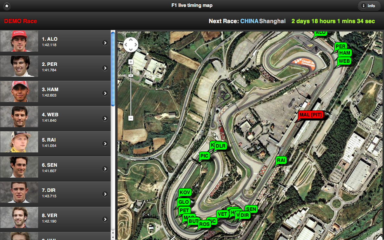 f1 live timing map
