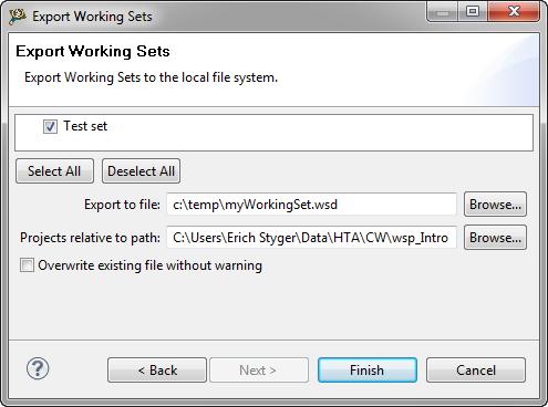 export working set dialog