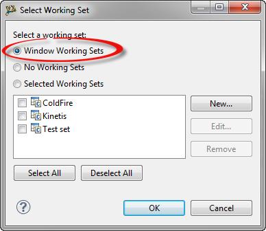 selected global window or workbench working set