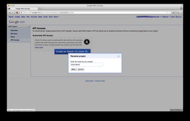 create a new google api project