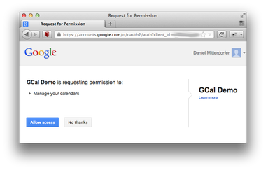 demo application requests access permission from google