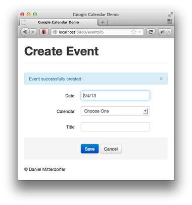 new google calendar event has been created